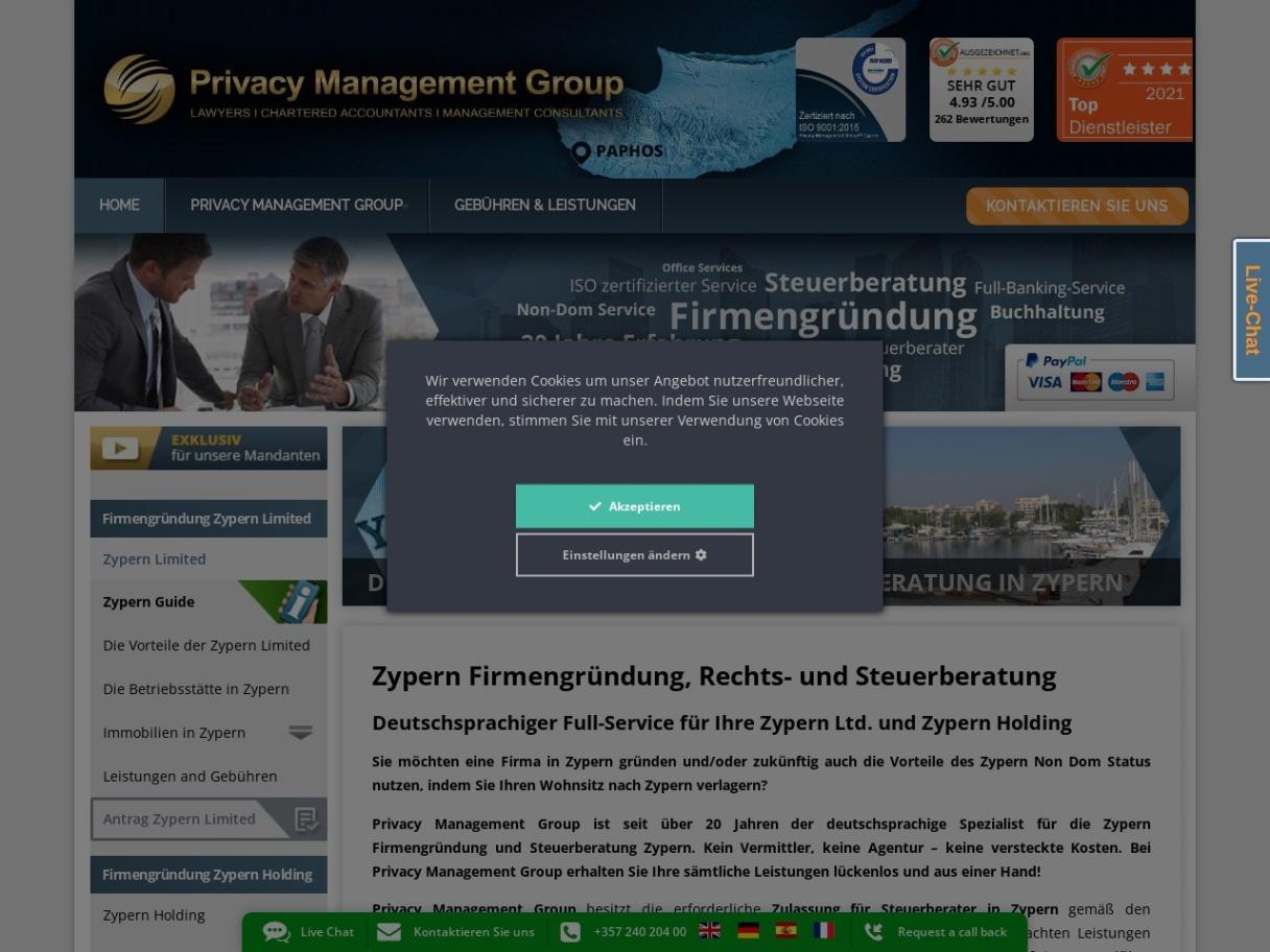 Zypern Limited Deutschsprachige Rechts- und Steuerberatung in Zypern