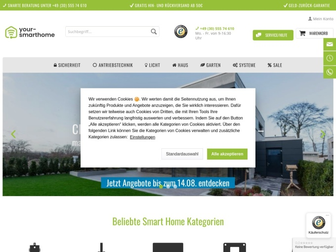 Screenshot des Onlineshops von your-smarthome