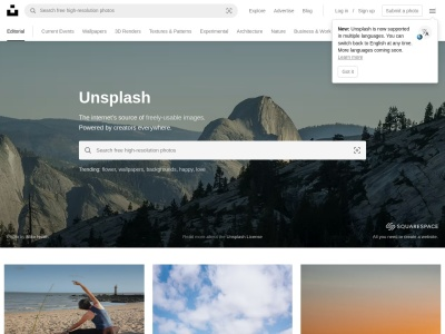 unsplash.com Screenshot