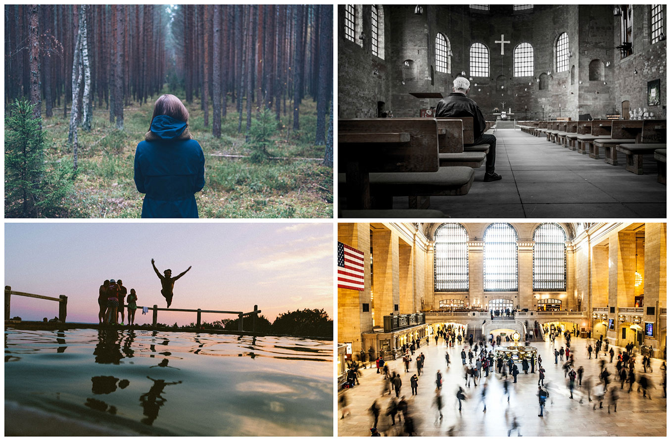 A four photo collage of a person in the woods, a person in a church, a person jumping in to a lake, and Grand Central Station