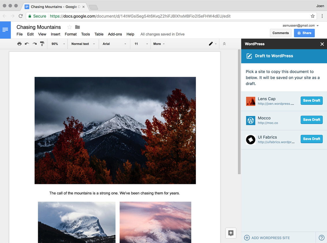 WordPress.com for Google Docs