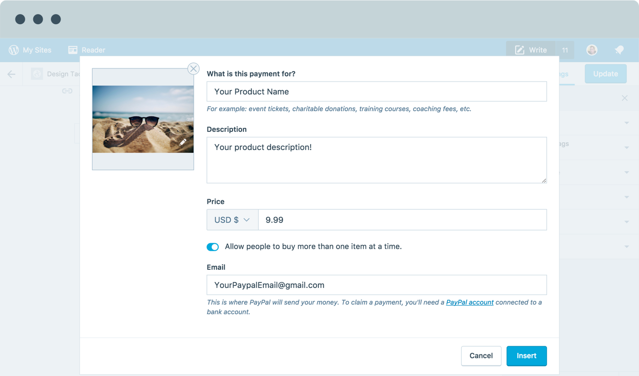 Image of setting up simple payment buttons through Jetpack