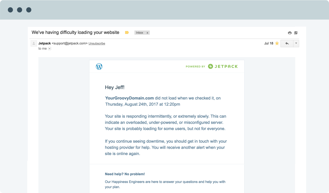 Image showing an email Jetpack sends when your site goes offline