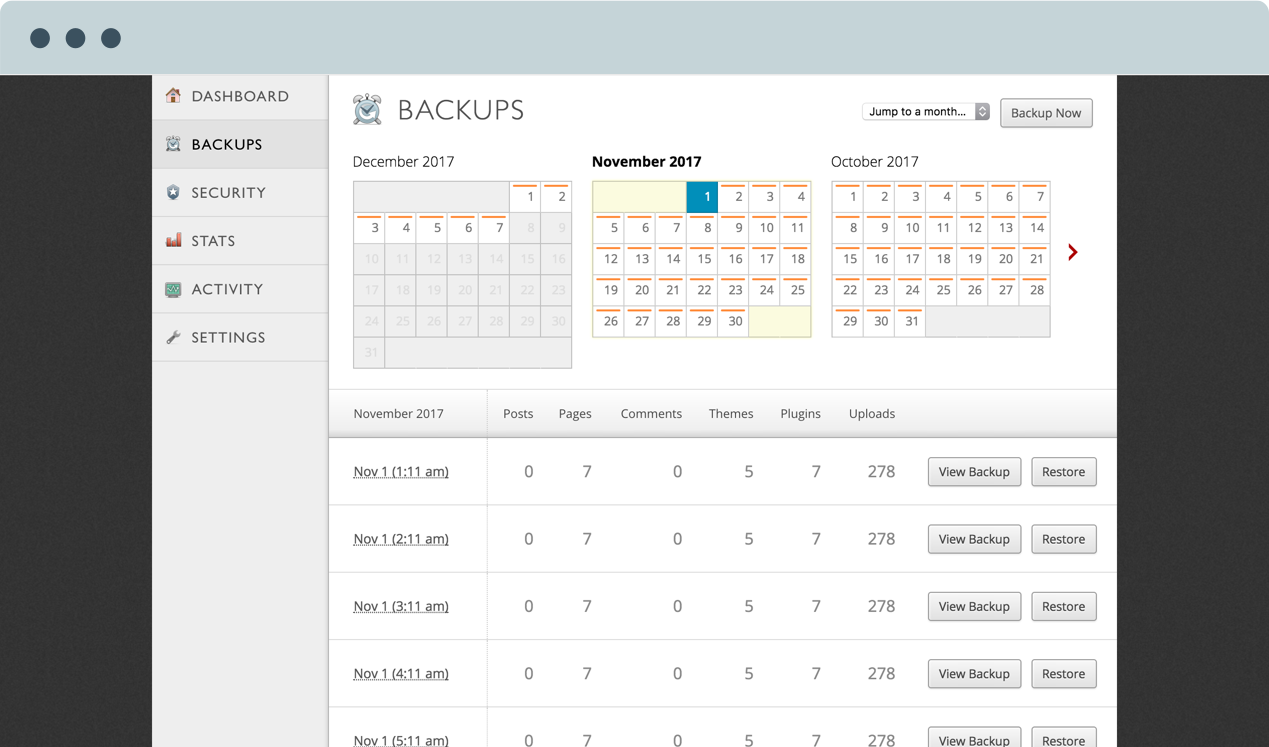Image showing the interface that allows users to restore their sites to particular backups