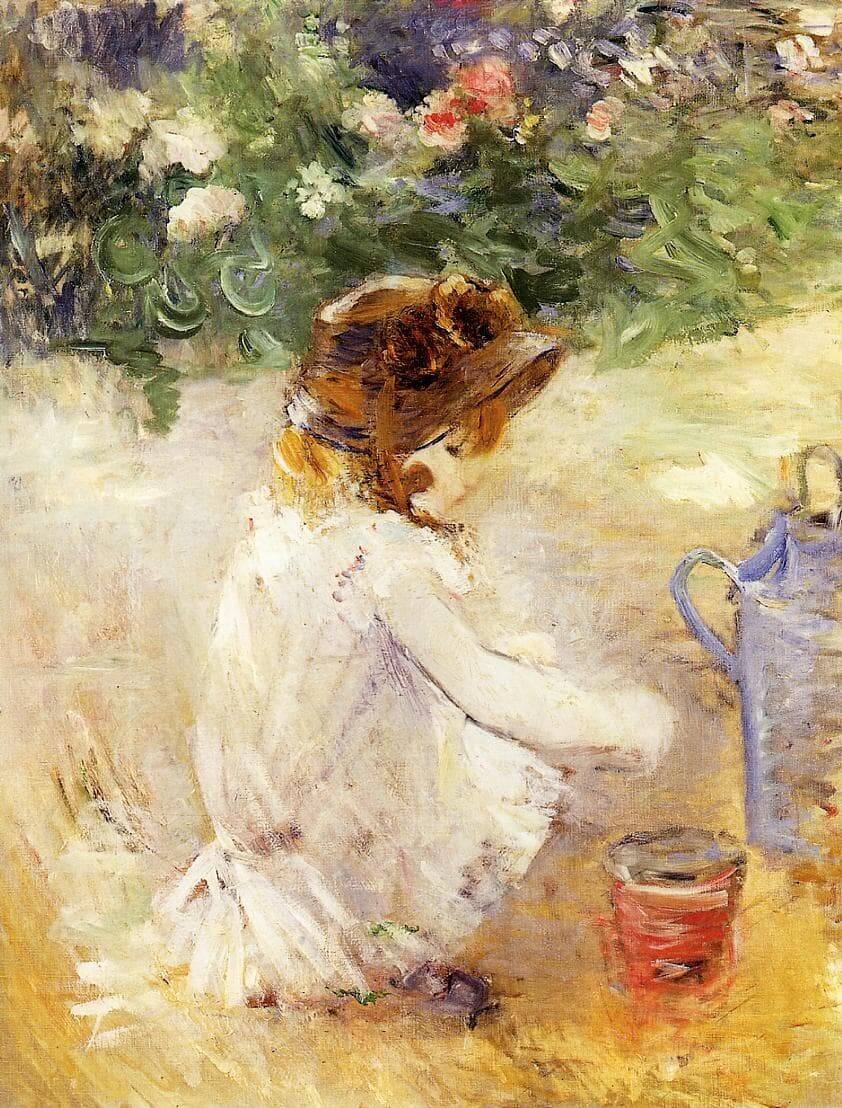 """""""Playing in the Sand"""" by Berthe Morisot"""
